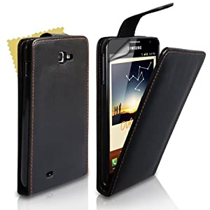 Yousave Accessories TM Black Leather Flip Case For The Samsung Galaxy Note With Screen Protector