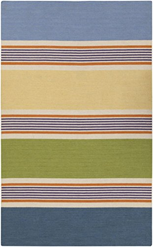 8' x 11' Rayas De Verano Blue, Lime Green and Gold Hand Woven Wool Area Throw Rug