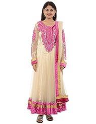 Seasons Shopping Mall Women's Net Anarakali Suit (051087PNK, Gold & Pink, XL )