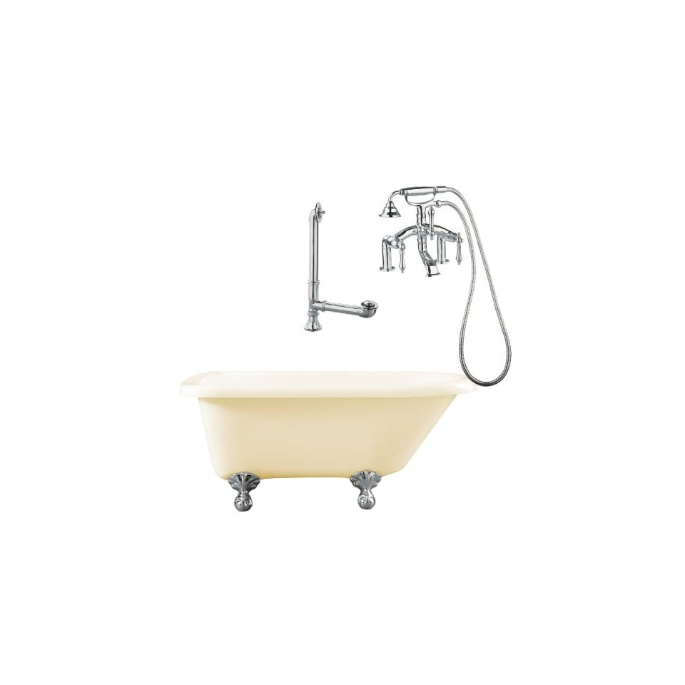 Augusta 54 Roll Top Tub with Deck Mount Faucet Faucet Finish Polished Chrome, Tub Color Bisque
