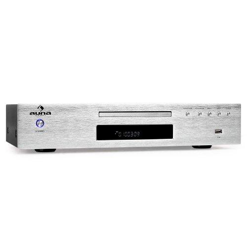 Auna AV2-CD509 Radioreceiver HiFi Receiver mit MP3-CD-Player (USB-Eingang, Fernbedienung, gute Anschlussmöglichkeiten) gebürstetem Edelstahl silber
