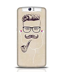 Oppo N1 Case Print Hipster with Smoking Pipe and Earphones for Oppo N1 Multicolor