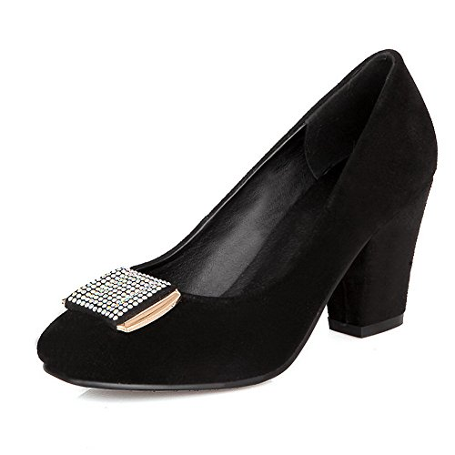 Vouge001 Womens Closed Square Toe High Heel Frosted Solid Pumps with Metal and Rhinestone