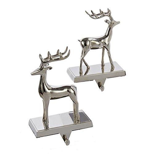 metal silver reindeer stocking holder set of 2 new. Black Bedroom Furniture Sets. Home Design Ideas