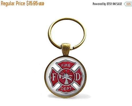 SALE FIREFIGHTER EMBLEM Keychain / Firefighter Gift / Maltese Cross Key Chain / Fire fighter Symbol / Fire Department logo (Keychain Fire Emblem compare prices)