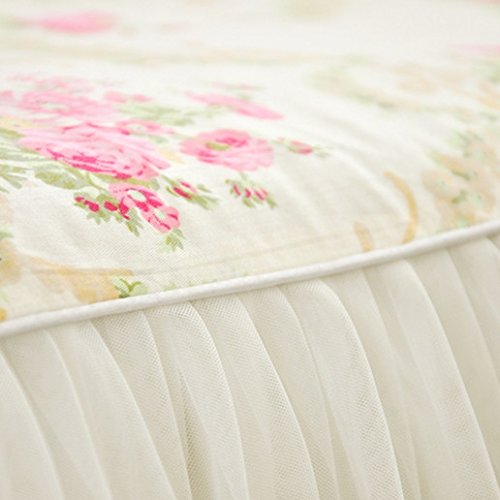 LELVA Girls Bedding Set Lace Ruffle Duvet Cover Princess Bedding Set Vintage Floral Print Duvet Cover Twin Full Queen King (Full, White) 3