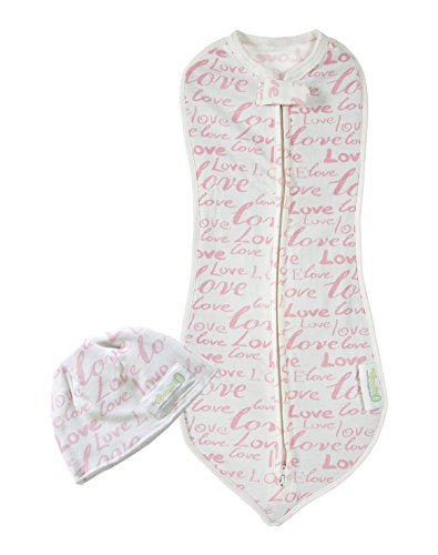 Woombie My First Months Baby Swaddle with Hat - Easy To Use Natural Approach to Swaddling -Stretchy But Snug Breathable Fabric - Pink Love -  5-10 lbs