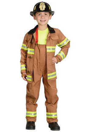 AEROMAX - Jr. Fire Fighter Suit Tan Toddler Costume