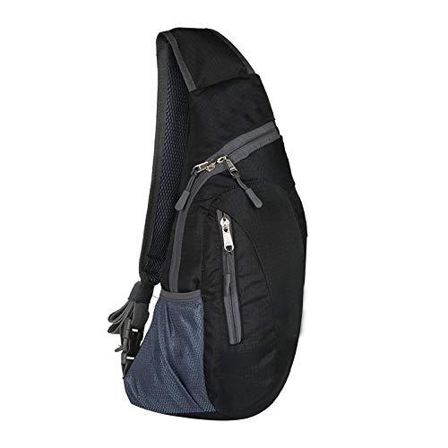 Sling Chest Shoulder Backpack Bags,Crossbody Shoulder Triangle Packs Daypacks for Sport Outdoor Gym Travel Hiking (Black, OneSize) [+Peso($57.00 c/100gr)] (CN.ME.5.99-2.99-B07SJ5JK2N.0)
