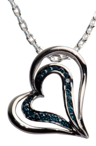 Sterling Silver Blue Diamond Angled Heart Shape Pendant Necklace (1/5 cttw), 18