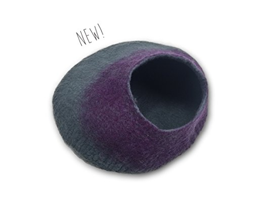 Walking Palm Felted Wool Cat Cave Bed (Gray and Purple)