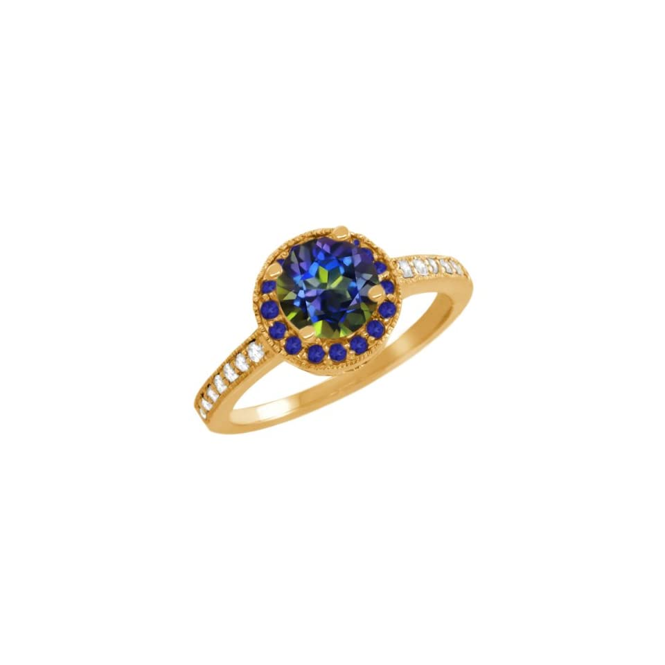 1.10 Ct Round Blue Mystic Topaz Blue Sapphire Gold Plated Sterling Silver Ring