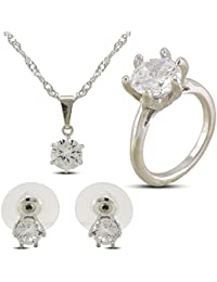 Vorra Fashion Combo Of Solitaire CZ Alloy Pendand Necklace Set With Stud Earring & Solitaire Ring For Girl's &...