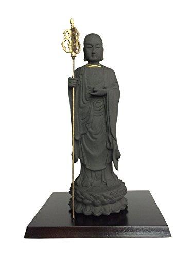 エコステーション 備長炭で出来た仏像の置物 地蔵菩薩(台板付) 20cm