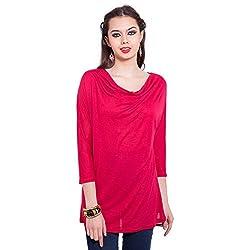 TUNTUK Women's Cowel Top Red Viscose Top