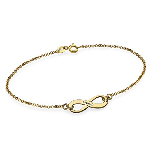 18K Gold Plated Engraved Infinity Bracelet - Custom Made With Any Name! (6.5 Inches)