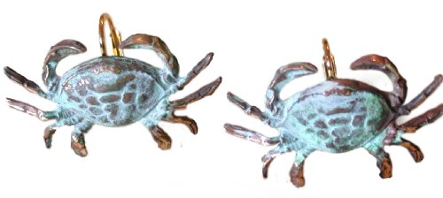 Verdigris Patina Brass Crab Earrings, Gold-plated Museum Latches