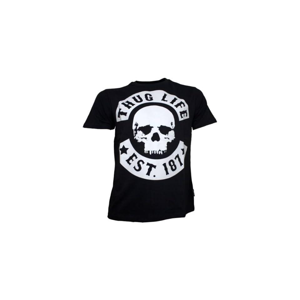 Thug Life Skull T Shirt Schwarz Bekleidung