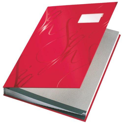 Leitz 57450025 Unterschriftsmappe Design, 18 Fächer, rot