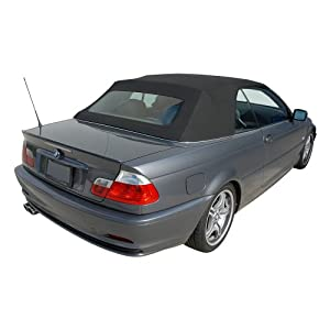 BMW E46 3-Series Convertible Top in Haartz Stayfast Cloth with Glass Window, Black