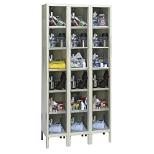 Safety-View Plus Stock Lockers - Six Tiers - 3 Sections (Assembled) Dimensions (W x D... by Hallowell