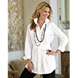 TravelSmith Womens Belted Stitch-Detail Shirt Tunic White S