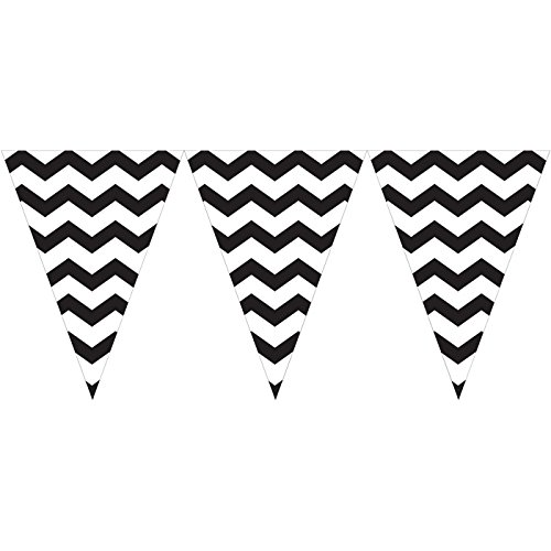 9ft Velvet Black White Chevron Zigzag Pennant Party Flag Banner Bunting Decoration - 1
