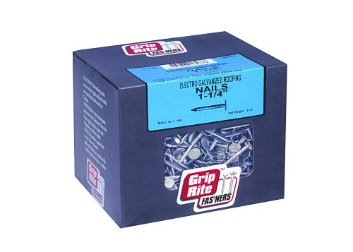 Grip-Rite 114EGRFG5 1-1/4-Inch Electro-Galvanized Roofing Nail, 5 Pounds