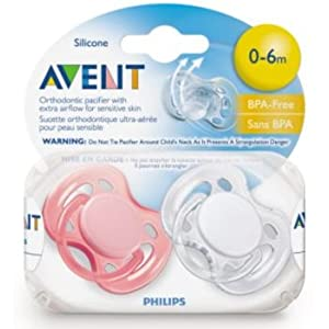 Avent BPA Free Freeflow Silicone Pacifiers, 0-6 M Girl Colors