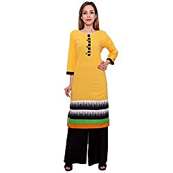 MSONS Women's Yellow 6 Buttons Printed Long Kurti in Cotton Fabric