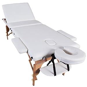 Table de massage pro luxe - Massage Imperial - Portable - Plateau 3 Pièces - Panneaux Reiki - Légère - Couleur : Ivoire Blanc
