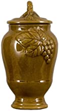French Yellow Majolica Pattern Medium Grape Jar with Lid 7 x 7 x 13 in
