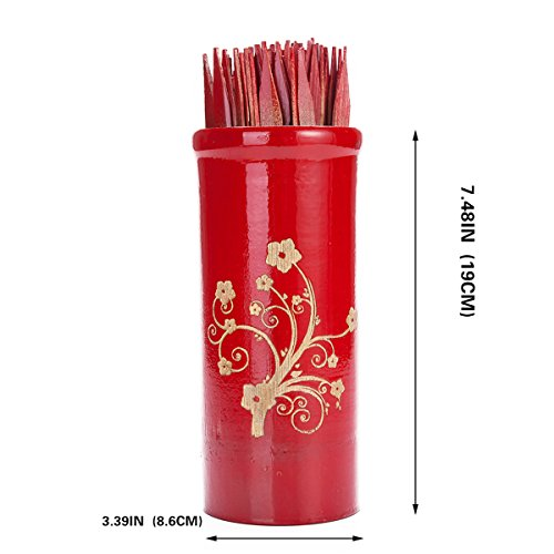 Chinese-Fortune-Telling-Sticks-W-Instruction-Booklet-Red-Bamboo-Cansiter-Golden-Fortune-Floral-Design