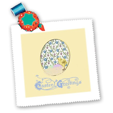 Qs_174111_5 Beverly Turner Easter Design And Photography - Little Yellow Chick, Nest Of Eggs, Flowered Background, Yellow, Blue, Green - Quilt Squares - 14X14 Inch Quilt Square front-282017