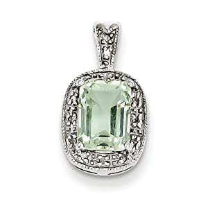 IceCarats Designer Jewelry Sterling Silver Rhodium Green Quartz Diamond Pendant
