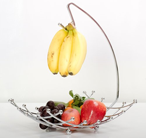 Fruit Basket with Banana Holder, Luxe Premium's High Quality Fruit Basket with Banana Hanger, Elegant and Decorative Chrome Fruit Bowl with Banana Hook, Amazing Design, Fashionable and Stylish Look (Fruit Tree Holder compare prices)
