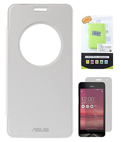 DMG Circle Window Flip Book Cover Case For Asus Zenfone 6 (White) + 6600 MAh PowerBank + Matte Screen