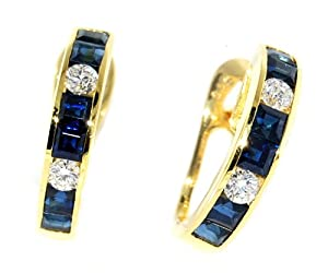 Clip-On Diamond Unique Blue Sapphire Earrings 18K Yellow Gold [E0001]