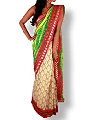 Green Yellow Tie Dye & Golden Tissue Silk Half & Half Saree With Bright Pink Silk Border