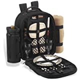 Search : Picnic Backpack Cooler w/ Blanket For Two (Black)