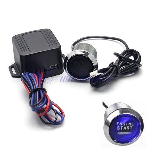 Universal Car Engine Start Push Button Switch Ignition Starter Kit - Blue Led