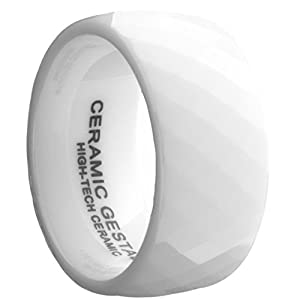 White Ceramic Ring by CERAMIC GESTALT® - 10mm Width. Faceted Design. Size 7 - RW10F7