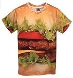 まるで 本物 3D Tシャツ (半袖 L, ハンバーガー)
