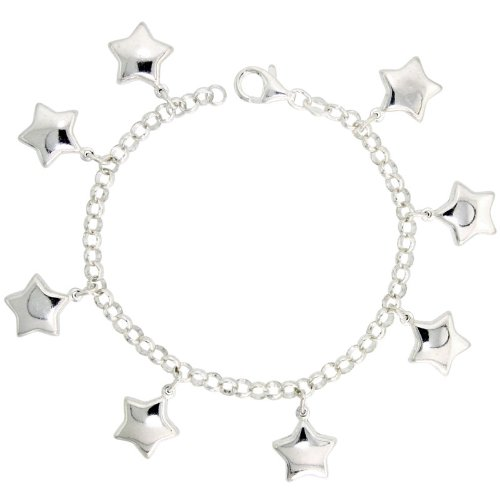 Sterling Silver Charm Bracelet w/ Puffy Stars, 11/16