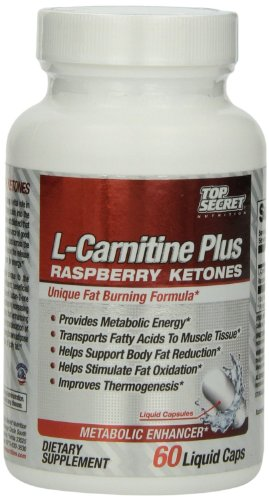 Top Secret Nutrition L-Carnitine Plus Capsules, Raspberry-K, 60 Count