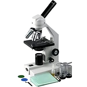 AmScope 40x-1000x Advanced Home School Student Widefield Biological Compound Microscope with Sturdy Metal Framework and All Optical Glass Lenses