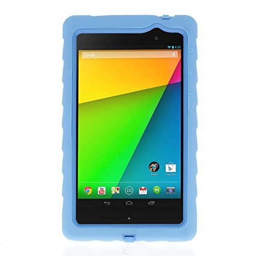 Google Nexus 7 (2013) Drop Tech Light Blue Gumdrop Cases Silicone Rugged Shock Absorbing Protective Dual Layer Cover Case (Nexus 7 Case Blue compare prices)