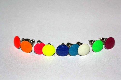 1 paar Emeco ® Klassic Neon Farbe Ohrstecker Ohrringe DH-003 (BLAU PETROL, ROUND/8MM)