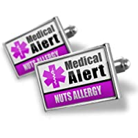"Neonblond Cufflinks Medical Alert Purple ""Nuts Allergy"" - cuff links for man by NEONBLOND Jewelry & Accessories"