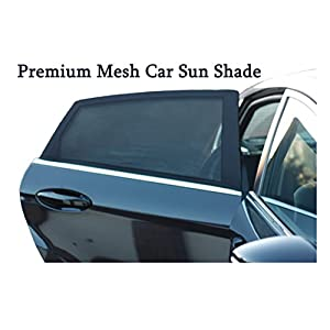 Premium Mesh Car Sun Shades Cover for rear side window | UV Protection| Blocks Sun glare and allows fresh air flow | 2 packs set | Easy installation